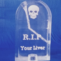 Halloween tombstone vodka luge